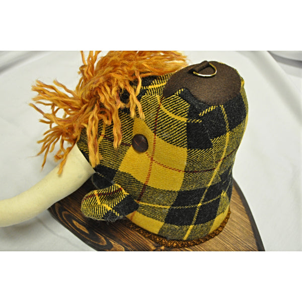 Highland Cow Fabric Wall Decoration in MacLeod Tartan Tweed