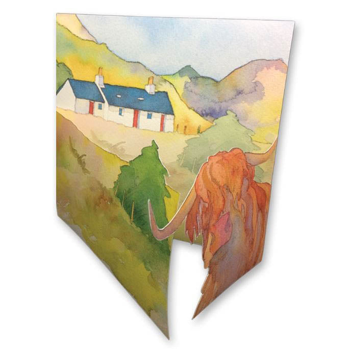 Highland Cow Die-Cut Card by Emma Ball
