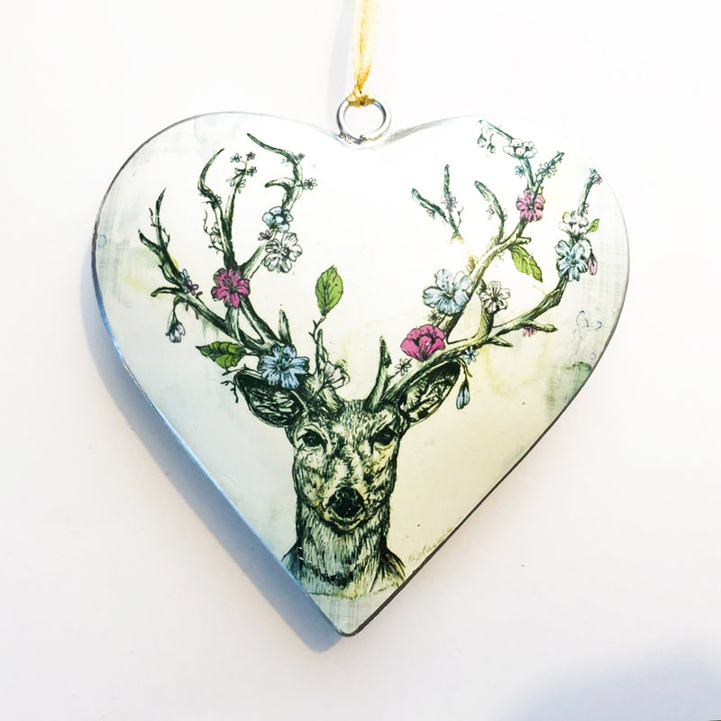 Floral Stag Metal Heart Decoration
