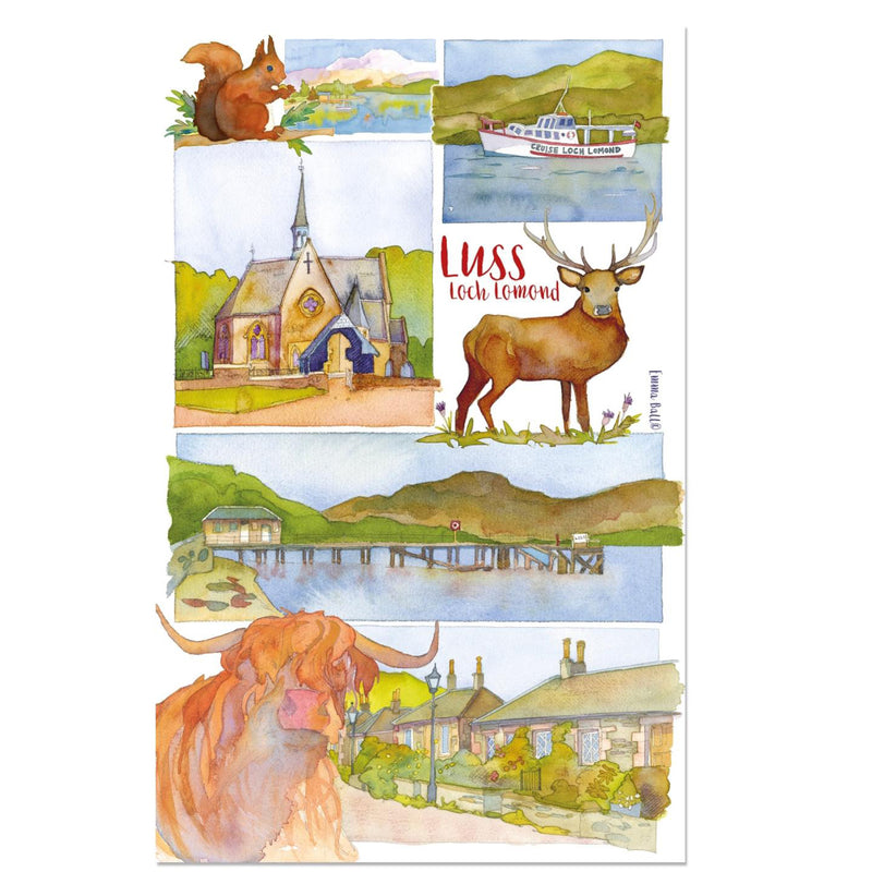 Luss Montage Tea Towel by Emma Ball