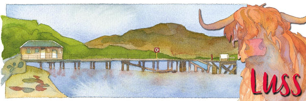 Luss Pier & Highland Cow Long Magnet by Emma Ball