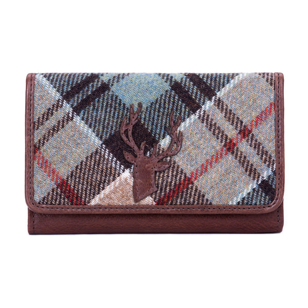 Matinee Purse with Applique Stag in Weathered Colquhoun Tweed & Leather