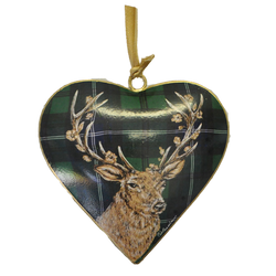 Stag On Green Metal Heart Decoration