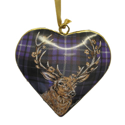 Stag on Purple Metal Heart Decoration