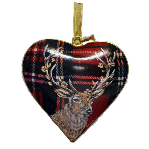 Stag on Red Metal Heart Decoration