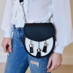 Black Leather with Cream Hide Sporran Bag (Nixey)
