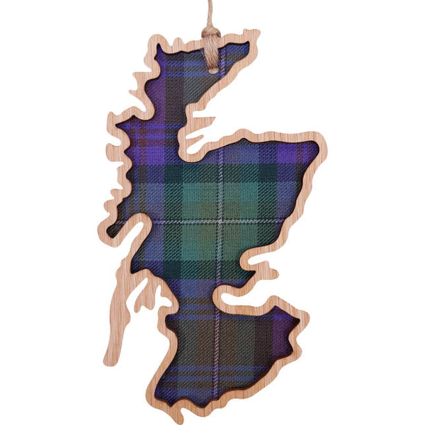 'Scotland Map' Hanging Tartan Plaque