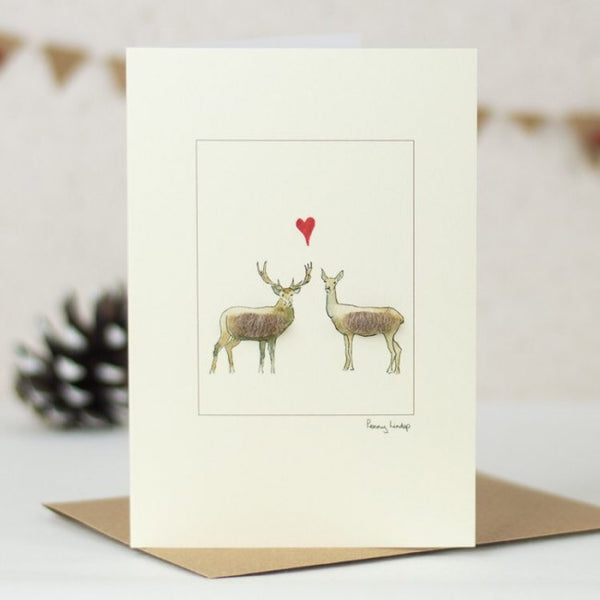 Deer in Love Card by Penny Lindop