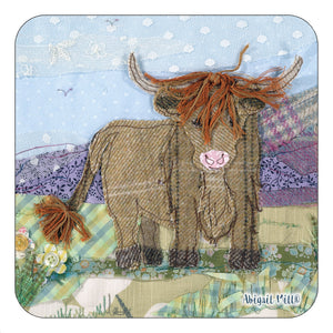Tweedie Highland Cow Coaster by Abigail Mill