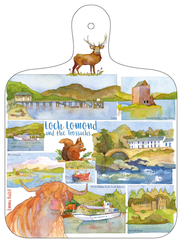 Loch Lomond & The Trossachs Mini Chopping Board by Emma Ball