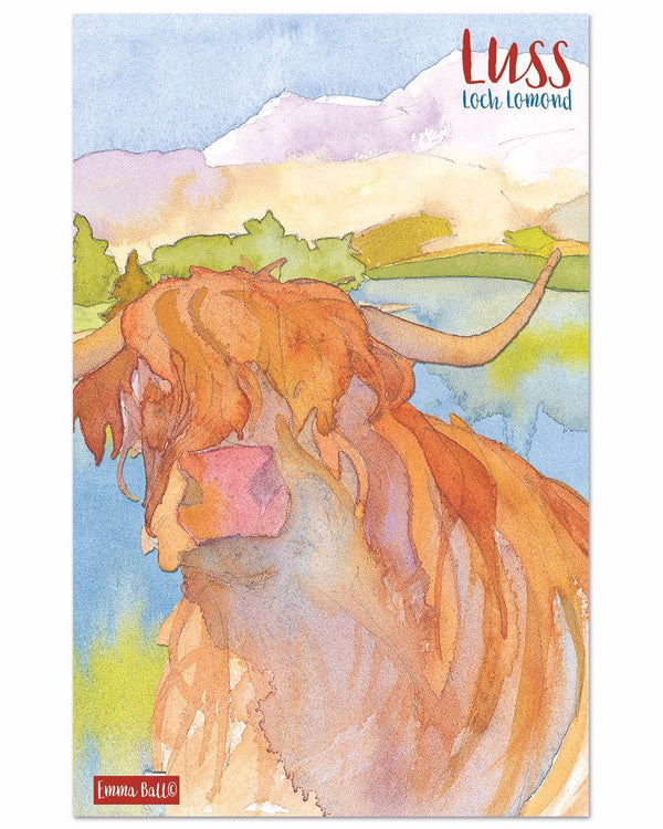 Luss Highland Cow Tea Towel by Emma Ball