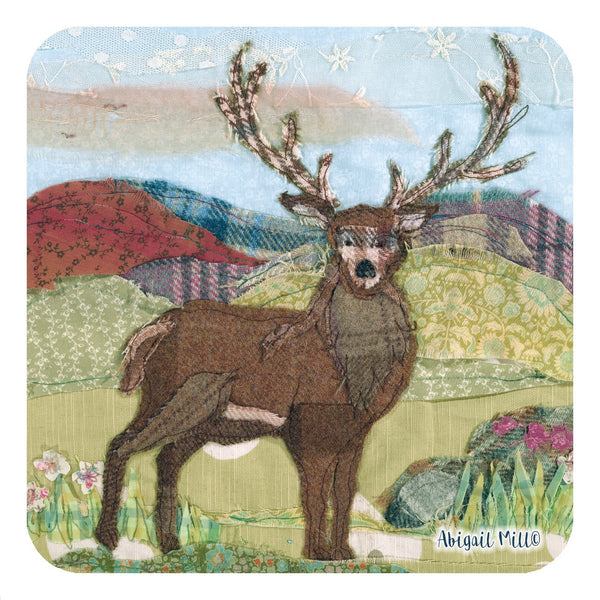 Tweedie Stag Coaster by Abigail Mill at Emma Ball
