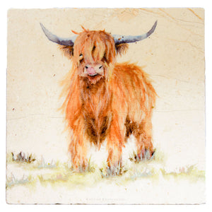 Highland Cow Marble Platter - Large