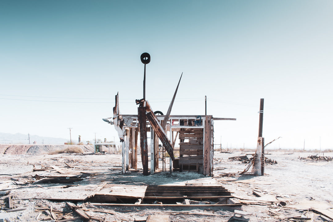 Bombay Beach art on the shoreline