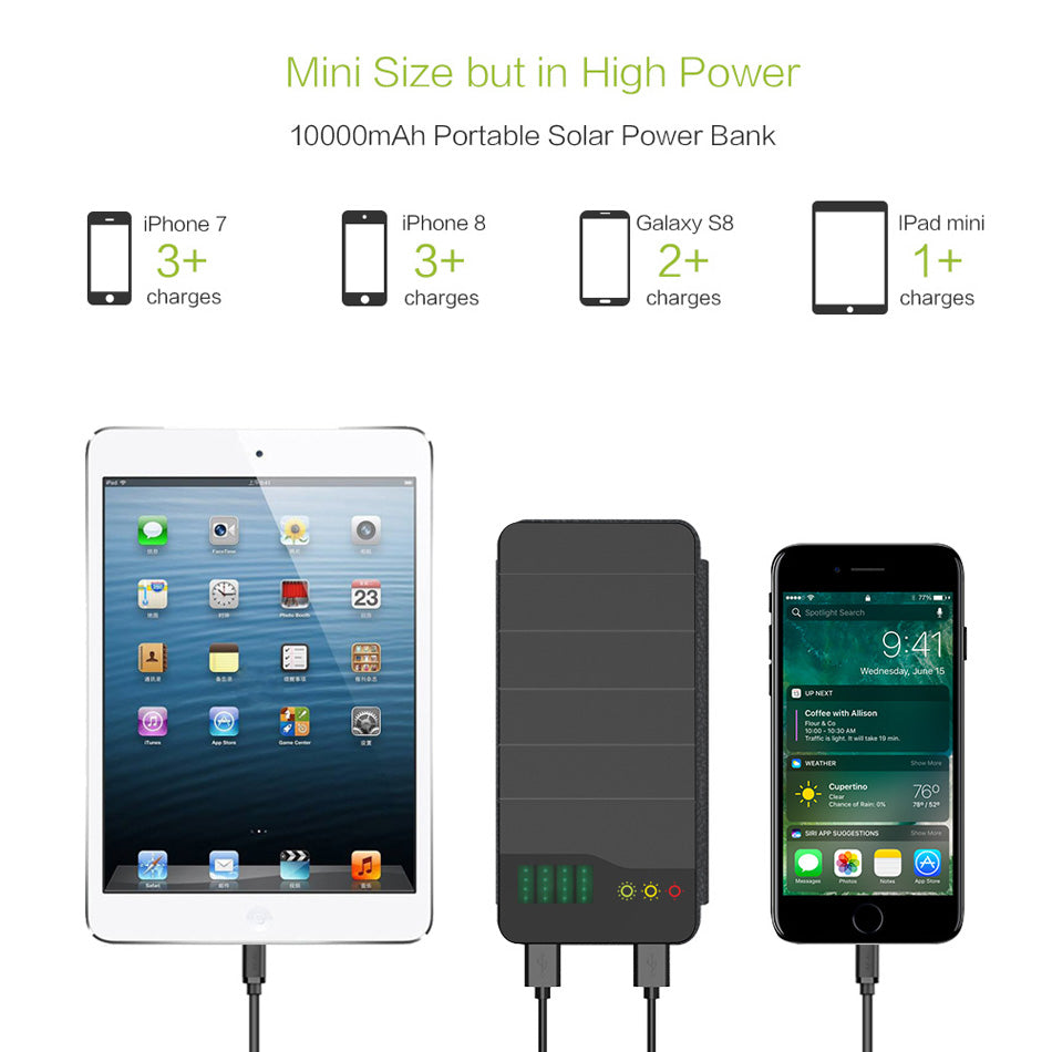 huge selection of f641a c07a7 Solar Power Bank 10000mAh Solar Charging Power Bank for iPhone 4s 5 5s  iPhone 6 6s 7 8 iPhone 10 iPad Samsung HTC LG Sony.