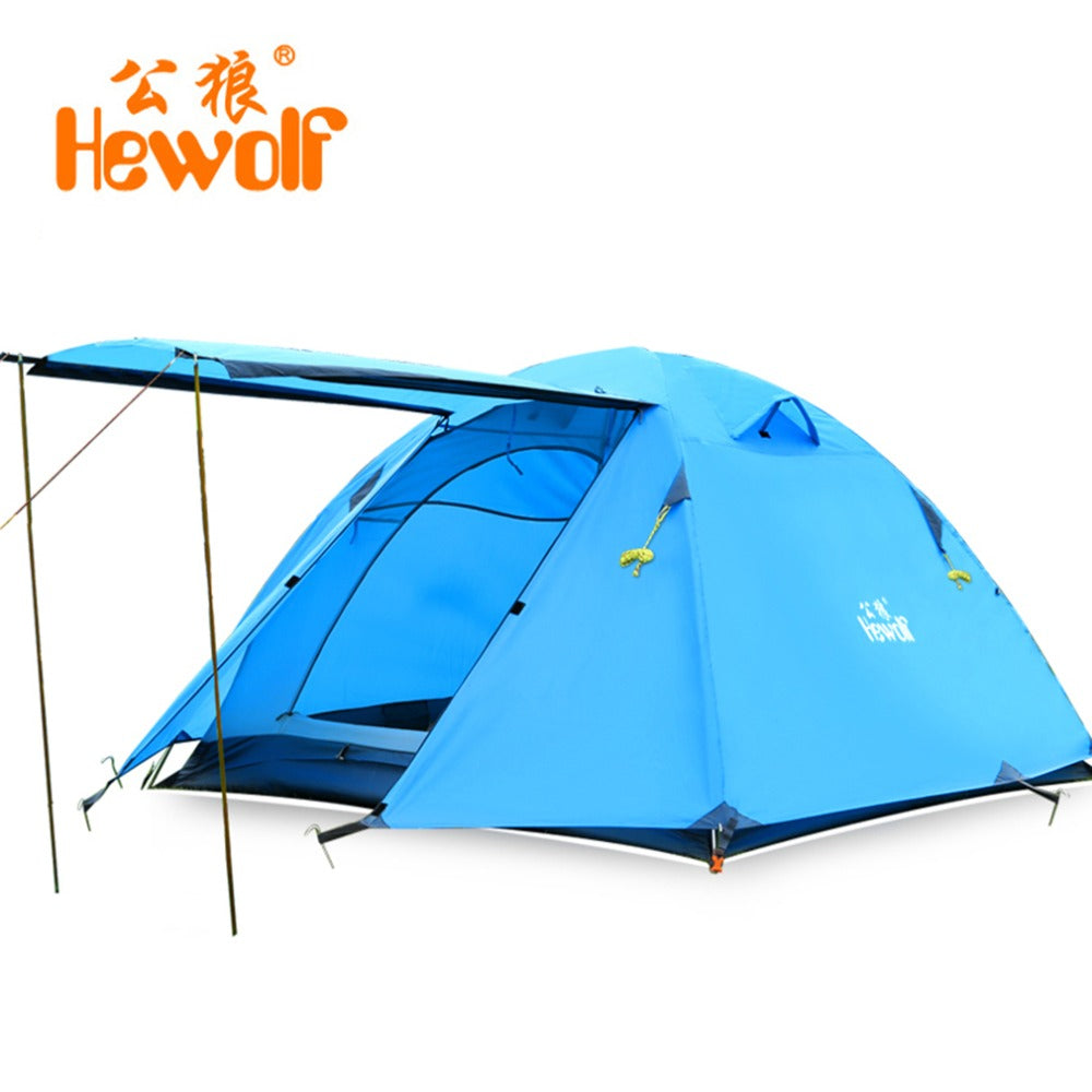Hewolf 3 4 Person Tourist Camping Tent Double Layer Waterproof Inner