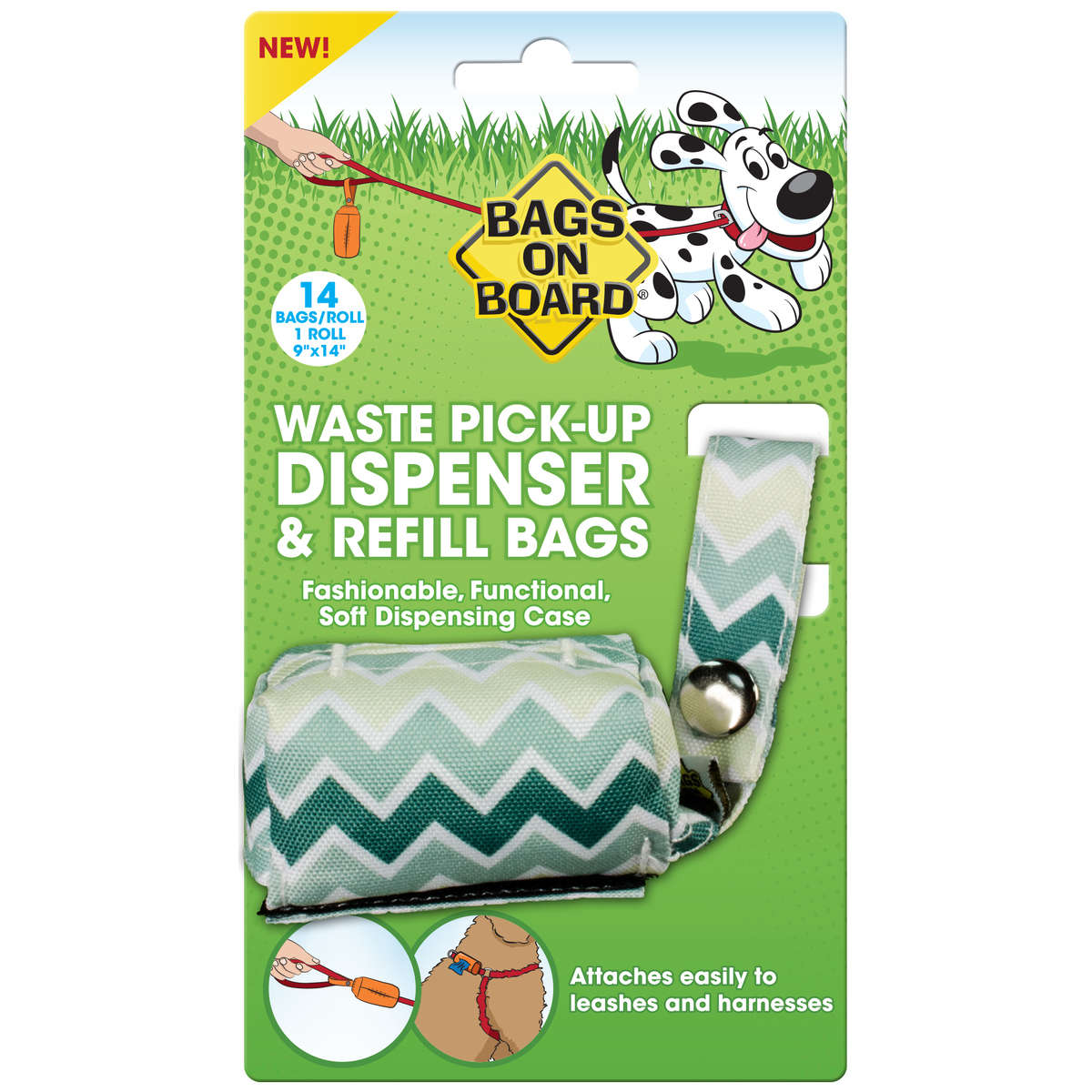 Bags on Board Fashion Dispenser and Poop Bag Refills Chevron Print 14 bags Green