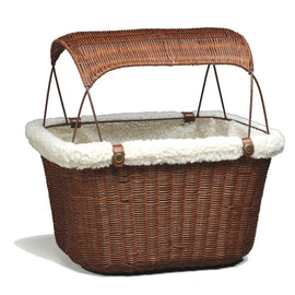 PetSafe-Solvit Tagalong Wicker Bicycle Basket--Brown-Comfort-Dog-Travel