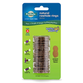 PetSafe-Busy Buddy Peanut Butter Rawhide Ring Size A--Brown-Rawhide-Dog-Treats and Bones