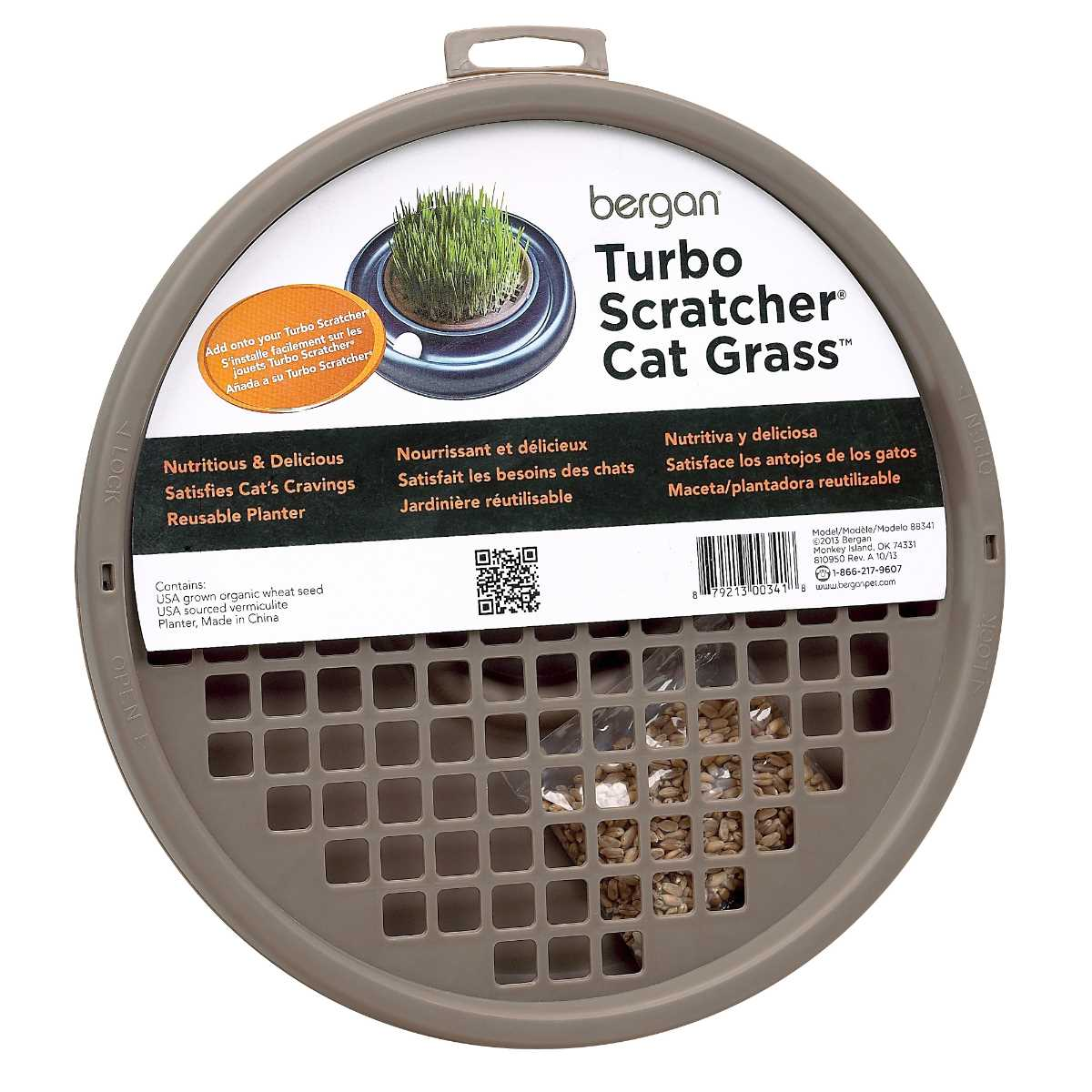 "Bergan Turbo Cat Grass Brown 10"" x 10"" x 1"""