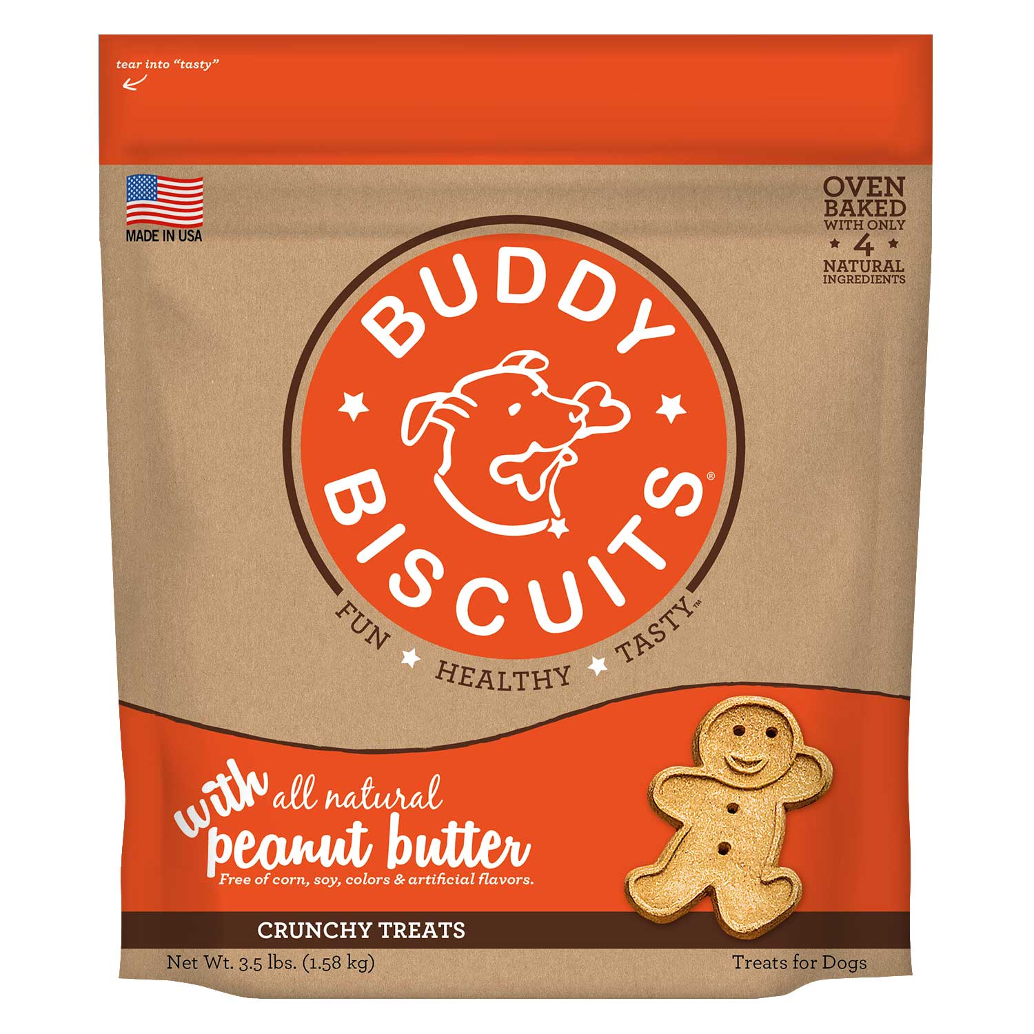 Buddy Biscuits Original Oven Baked Crunchy Treats Peanut Butter 3.5 pounds Dog Treats and Bones - London the Local