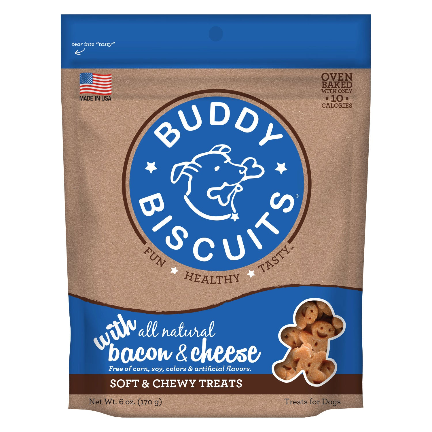 Buddy Biscuits Original Soft and Chewy Dog Treats Bacon and Cheese 6 ounces Dog Treats and Bones - London the Local