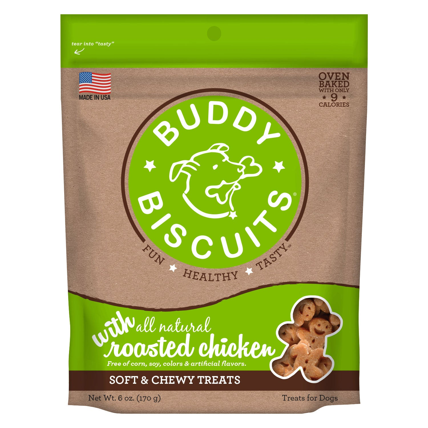 Buddy Biscuits Original Soft and Chewy Dog Treats Roasted Chicken 6 ounces Dog Treats and Bones - London the Local