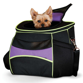 "K&H Pet Products Comfy Go Back Pack Pet Carrier Purple/Black/Lime Green 15.35"" x 11.42"" x 13.98"" Dog Travel - London the Local"