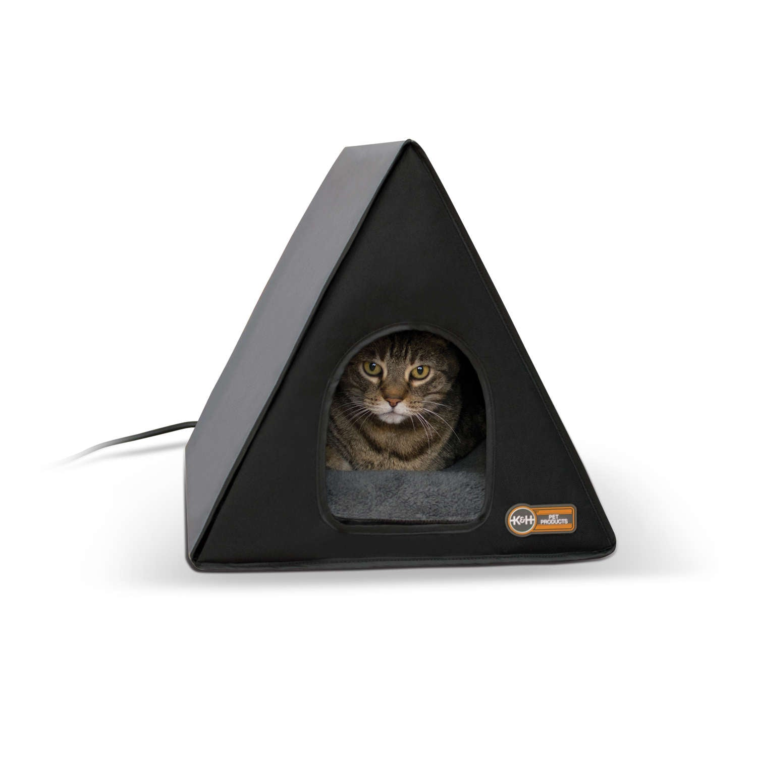 "K&H Pet Products Heated A-Frame Cat House Gray / Black 18"" x 14"" x 14"" Cat Houses - London the Local"