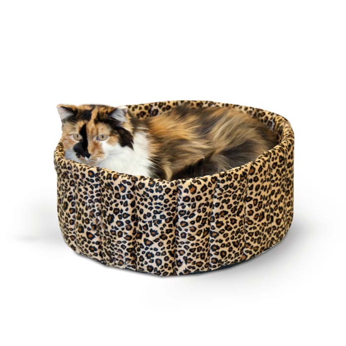 "K&H Pet Products Lazy Cup Cat Bed Large Leopard 20"" x 20"" x 7"" Cat Beds - London the Local"