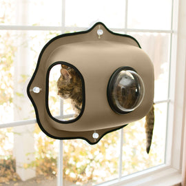 "K&H Pet Products EZ Mount Window Bubble Cat Pod Tan 27"" x 20"" x 7.5"" Cat Furniture - London the Local"
