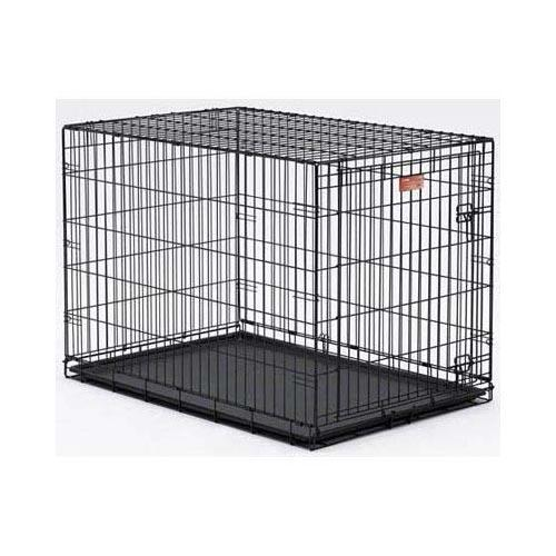 "MidWest Life Stages Heavy-Duty Folding Metal Dog Crates Single Door w/Divider Panel, Floor Protecting ""Roller"" Feet & Leak-Proof Plastic Pan"