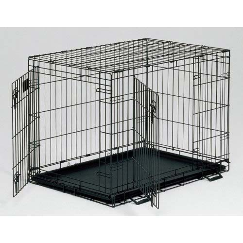 "MidWest Life Stages Heavy-Duty Folding Metal Dog Crates Double Door w/Divider Panel, Floor Protecting ""Roller"" Feet & Leak-Proof Plastic Pan"
