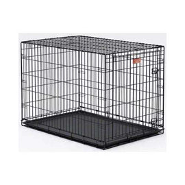 "MidWest Life Stages Heavy-Duty Folding Metal Dog Crates Single Door w/Divider Panel, Floor Protecting ""Roller"" Feet & Leak-Proof Plastic Pan Dog Crates - London the Local"