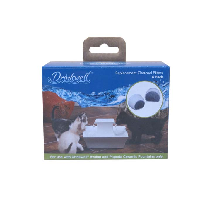 PetSafe-Drinkwell Ceramic Charcoal Filters 4 pack--White / Gray-Automatic Feeding and Watering-Dog-Feeding and Watering