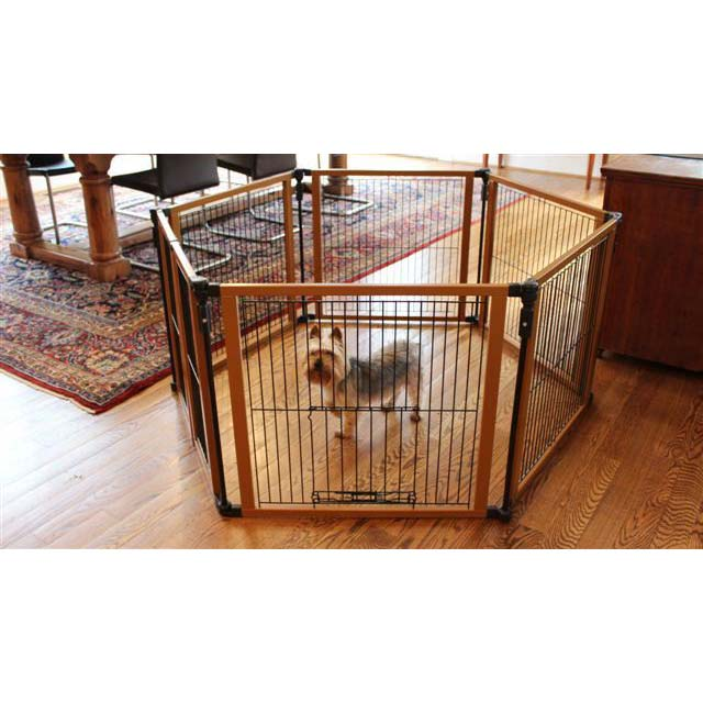 "Cardinal Gates Perfect Fit Free Standing Pet Gate Brown 6 panels 26.25"" x 1"" x 26"" Dog Gates - London the Local"