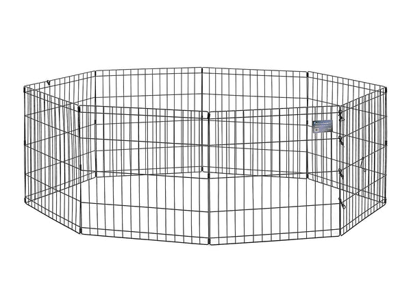 Midwest Black E-Coat Pet Exercise Pen/Pet Playpen | w/ & w/o Walk Thru Door