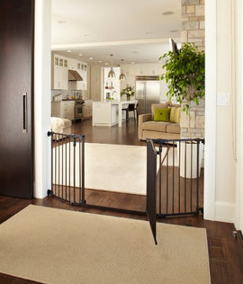 "North States Deluxe Décor Wall Mounted Pet Gate Medium Matte Bronze 38.3"" - 72"" x 30"" Dog Gates - London the Local"