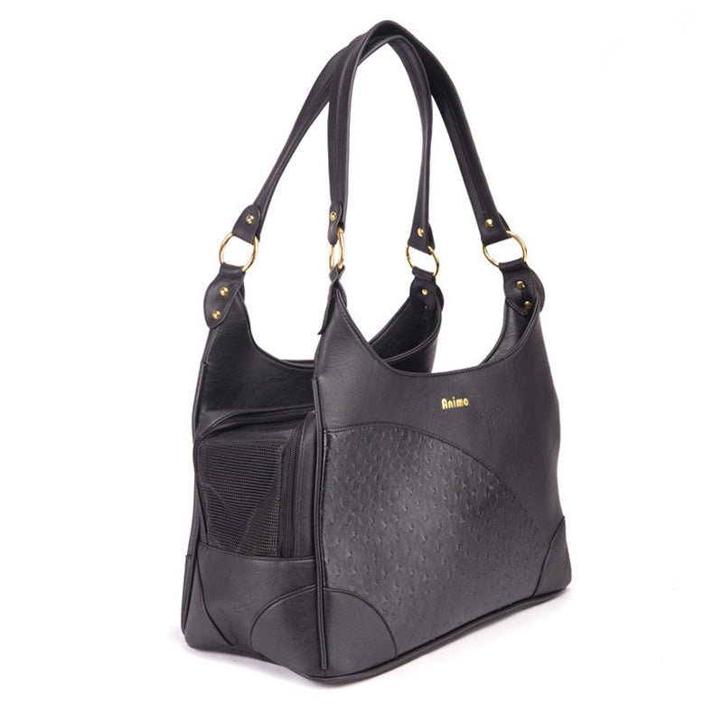 Luxury Black Leather Ostrich Pattern Dog Bag Carrier Pet Carrier - London the Local