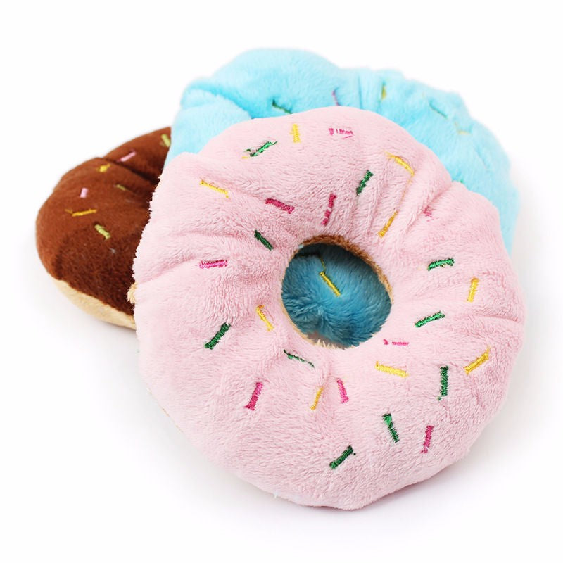 Chew Throw Toys Cute Donuts Puppy Cat Squeaker Squeaky Plush Sound Toys about 11cm pet toys for pet dog