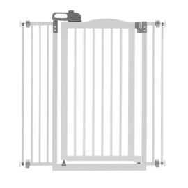 "Richell Tall One-Touch Pressure Mounted Pet Gate II White 32.1"" - 36.4"" x 2"" x 38.4"" Dog Gates - London the Local"