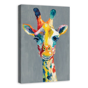 Colorful Giraffe Painting Print on Wrapped Canvas