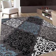 Damask Grey Blue White Soft Contemporary Area Rug