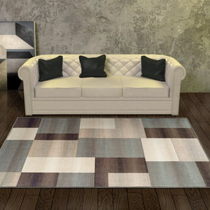 Rectangular Boxes Pattern Ivory Blue Tan Area Rug