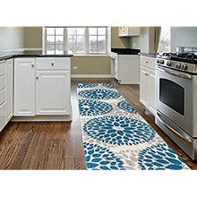 Floral Gray/Grey Turquoise Blue Area Rug
