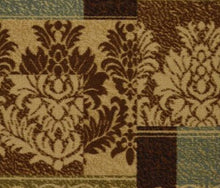 Damask Brown Green Beige Non Skid Area Rugs