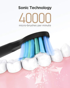Electric Toothbrush Powerful Sonic Cleaning - Rechargeable with Timer, 5 Modes, 3 Brush Heads for Adults and Kids