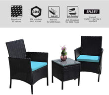 Rattan Patio Indoor/Outdoor Black/Blue Conversation Set - Chairs / Coffee Table