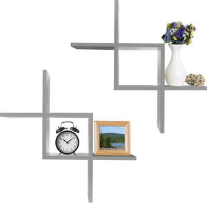 Criss Cross Intersecting Wall Mounted Floating Shelves 2-Pack
