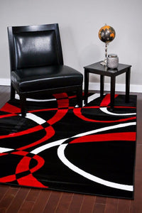 Abstract Swirls Black Red Soft Area Rugs